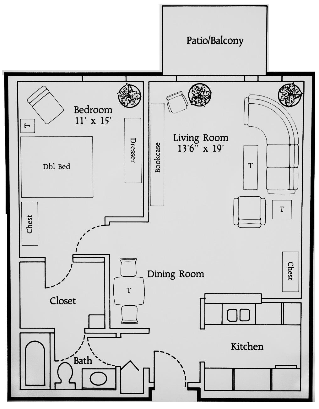 Rivers Edge Floor Plan 1 Bedroom